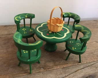 Vintage Green Tole Doll House Furniture Set