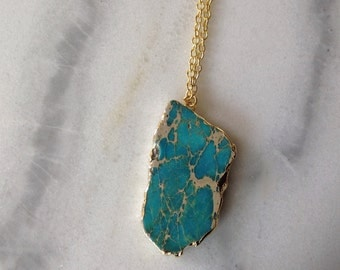 14K Gold Plate Turquoise Slice Pendant Necklace