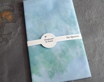 Pastel Blue Green Fat Quarter - hand dyed fabric, blue fat quarter,periwinkle forget me not cornflower sea green ice blue azure fabric, 1112