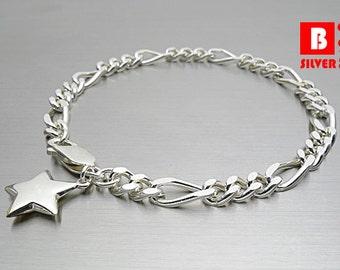 925 Sterling Silver Bracelet, Star Charm Bracelet, Figaro Bracelet, Lobster Clasps (Code : N515E)