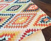 Wanderer Blanket Small or Large Minky Baby Toddler Child Adult Throw, Tribal, geometric, mint, triangle, orange, mustard, ochre, desert