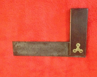 Brass, Rosewood and Steel Tri Square, Antique woodworking tool
