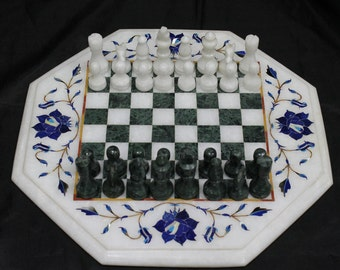 Marble chess board handmade semiprecious stone inlay Side table top with complimentary chess set