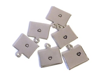 2x Silver Plated Colorado State Charms w/ Hearts - M070/H-CO
