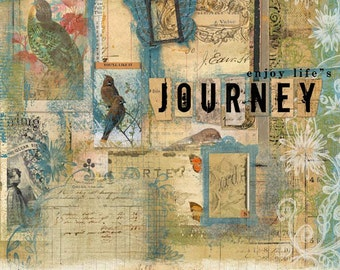 Collage | Script | Vintage Paper | Word Art | Birds | Swirls | Frames | Stamps | Digital Scrapbooking | Journey