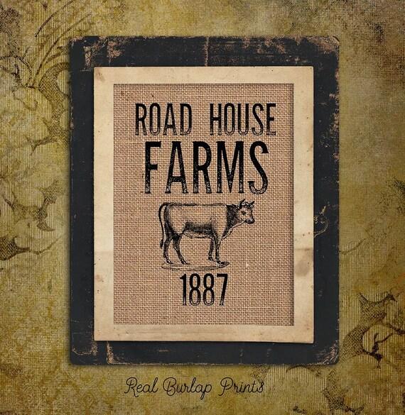 Burlap Print | Vintage | Cow | Road House Farms 1887 | Personalize | #0086