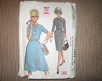 "McCall's Vintage 1962 Dress Pattern #7017, Size 16 1/2, Bust 37, ""Easy To Sew"" Half Size Dress Pattern, Slim or Full Skirt"
