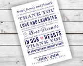 Navy and Coral DIY Wedding Reception Thank You Card Printable