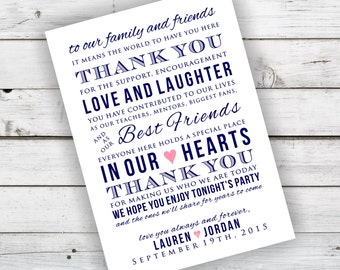 Navy and Coral DIY Wedding Reception Thank You Card Printable