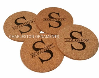 Personalized Coasters, Set of 4 - Cork Coasters - Custom Coasters - Monogram Coasters - Custom Kitchen Accessories - Eco-Friendly Gift