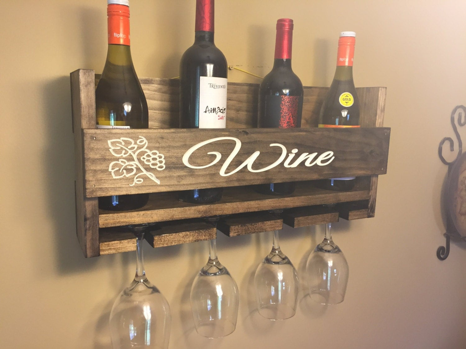 Sale Engraved Personalized Wine Rack Carved Custom Rustic 4