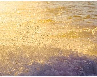 Abstract Water Photography, Sunlit, Beach photos, Sunrise Photography, Water splash photos, Water Abstract home decor,Yellow Sun Sea Photos