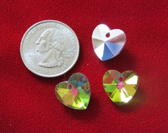 """10pc """"heart"""" glass charms (BC708)"""