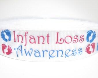 """5 yards of 7/8 inch """"infant awareness"""" grosgrain ribbon"""