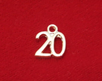 "10pc ""20"" charms in silver style (BC737)"