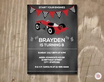 Chalkboard Race Car Birthday Invitation, Custom Birthday Invitation, Printable, Kids Birthday, Children's Birthday Invitation,