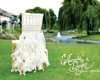 White Bridal Chair Cover Wedding Ruffle Willow Chair Decoration READY TO SHIP for Event Reception Bridal Shower Wedding Engagement Decor