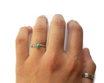 Turquoise Ring, Blue Ring, Sterling Silver, Stacking Ring, Blue Stone Ring, Turquoise Stone Ring,Gemstone Ring, Natural Stone Ring