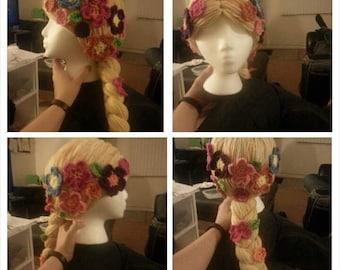 Rapunzel crochet beanie