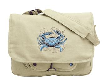 Nauticus - Crab Embroidered Canvas Messenger Bag