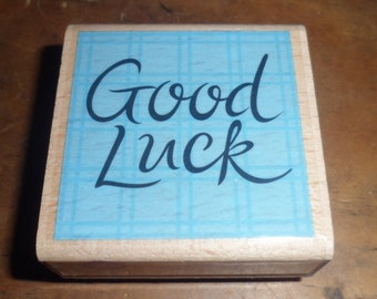 """2"""" x 2"""" """"Good Luck"""" Saying Stamp Crafting Supply Scrapbooking Pre-Owned"""