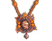 Orange necklace - Soutache jewelry - Boho chic look - Artsy jewelry