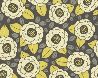 Joel Dewberry Fabric - Aviary 2 Bloom Granite - Grey Yellow Flowers -