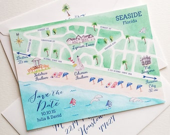 Custom Wedding Map, Sample Destination Wedding Save The Dates, Florida Save The Date, Save The Date Cards