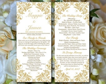 "DIY Wedding Program Template - Tea Length Program Flourish Gold ""Maggie"" Printable Tea Length Program DIY Wedding Template Order of Service"