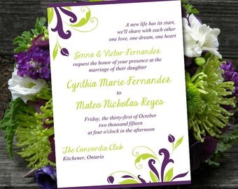 "Printable Wedding Invitation Template - Instant Download DIY Wedding Template - ""Florence"" Eggplant Lime Printable Wedding Invitation Card"