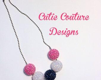 Chunky Bubblegum Necklace, pink necklace, Navy Necklace, White Necklace, Birthday Necklace, Summer necklace,Bubblegum Necklace,baby necklace