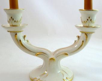 Vintage Candle Holder VON SCHIERHOLZ Dresden, Germany Fine Porcelain Hand-Painted Duo Candlestick Holder Gold Trim - Excellent Condition!