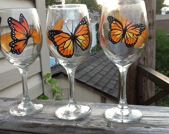 Hand painted Monarch Butterfly wine glass....13.95 each glass....individual listing....whimsical and beautiful ....make a wonderful gift
