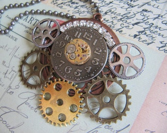 Steampunk, Steampunk Jewelry, Watch Face,Gear, Steampunk Necklace, Neo Victorian, Gothic, Gears, Steampunk Necklace, Unique