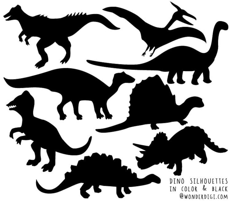 Dinosaur Clipart Dinosaurs Silhouette Clip art by wonderdigi