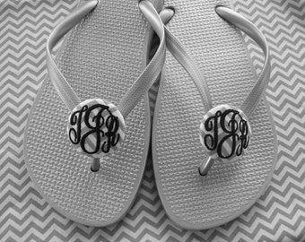 Monogrammed Buttons for flip flops, bridal and bridesmaids flip flop buttons, FABRIC covered - great for beach weddings - by Flowersaks