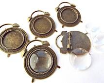 Bronze Clock Brooch, 5 Clock and Cabochon, Clock Brooch Setting, Glass Cabochon, Cabochon Brooch, Alarm Clock, Brooch Supplies, UK Seller