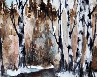 ORIGINAL Watercolor Painting, Winter Birch Trees, Winter Landscape 4x6 inch