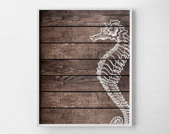 Seahorse Wall Decor, Beach Decor, Beach Art, Nautical Art, Nautical Decor, Nautical Bathroom, Rustic Beach Art, Rustic Beach Nursery, 0351