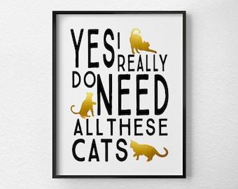 Cat Art, Cat Print, Cat Decor, Cat Lover Gift, Pet Art, Pet Decor, Typography Poster, Black and Gold Decor, Cat Poster, Faux Gold Foil, 0390