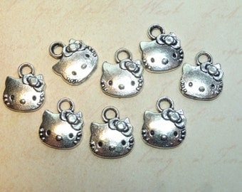 Adorable Tibetan Silver Tone Hello Kitty Charms