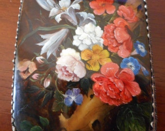 """Russian MOTHER OF PEARL Hand Painted Minature Painting opainting of Rachel Ruych's painting """"Blumen en einern ......""""Signed and Dated"""