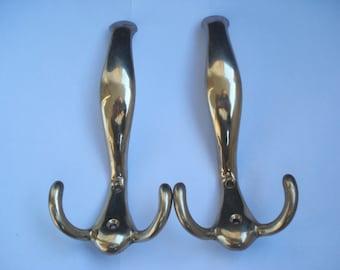 Antique Big Brass Wall Hook Set/ Set of 2 solid brass wall hooks/ Country style ornate brass hooks/ Coat or Towel Hooks,1960s