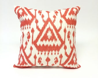 Orange and White Throw Pillow,Ikat Design, Bed or Sofa Pillow for a Modern Home, Ikat Designer Pillow, Square Decorative Accent P-2-170
