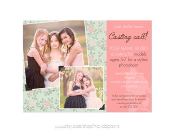INSTANT DOWNLOAD, Photography Template, Model Call, Casting, Photography Marketing Template, 5x7 size, Newborns, Seniors, Families, Call