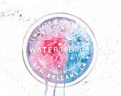 New Orleans Watermeter Water Meter NOLA Watercolor Art Print PDF Instant Digital Download 8.5 x 11 and 8 x 10