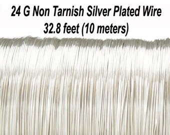 24 Gauge (0,5 mm), Non Tarnish Silver Plated Copper Wire, Round, Soft,  32.8 feet (10 meters), Made in UK