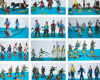 Vintage toys figures set Indians Cowboys Napoleon soldiers PZG Żołnierzyki PRL