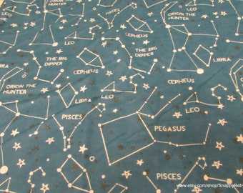 Flannel Fabric - Astrology Constellations - 1 yard - 100% Cotton Flannel