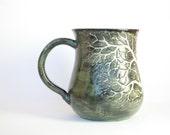 16 oz Carved Varigated Green & Bone White Tree Mug